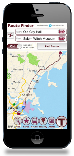 MobileMBTA Transit App Boston Map