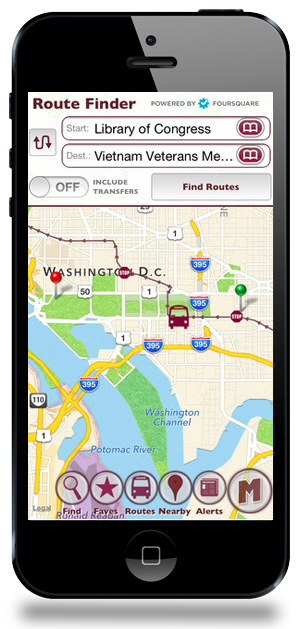 MobileMetro Transit App Washington DC Map